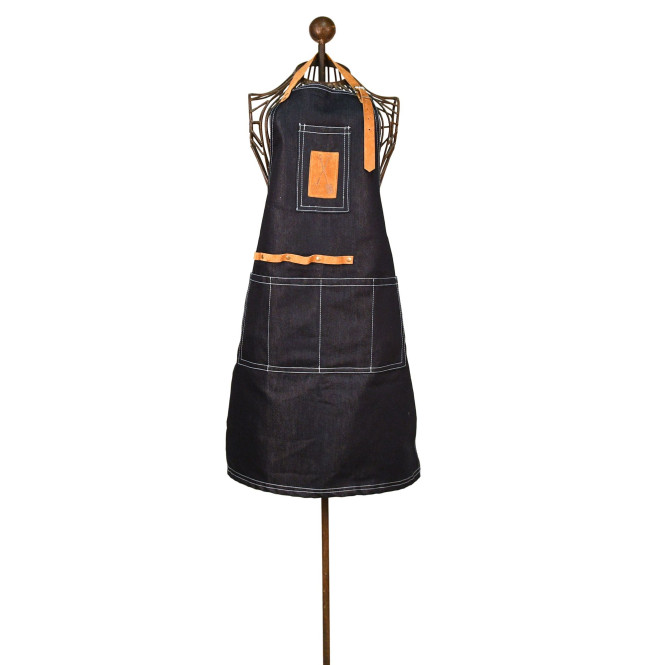 Rivanto® Denim Gartengeräteschürze aus Denim (80% Baumwolle/20% Polyester)/Schweineleder/Metall, 64,5 x 1 x 97cm