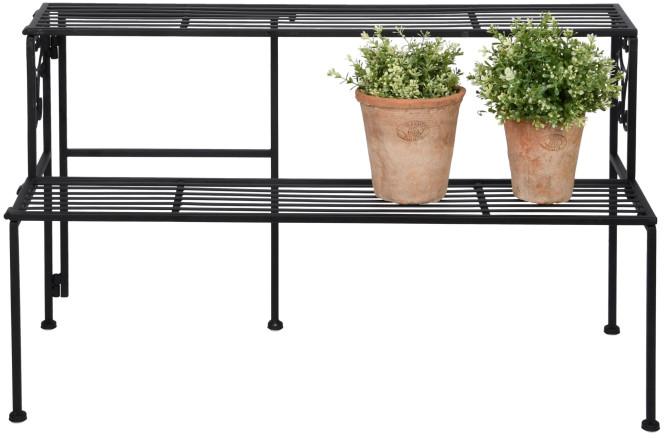 Rivanto® Etagere 2 Ebenen, aus Eisen, faltbar 78,9 x 34,5 x 47,3 cm, fünf Standfüße, stabiler Stand, ideal für Blumentöpfe, Pflanzkästen