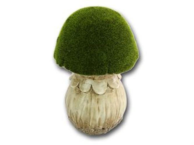 Rivanto® Gartenpilz aus Steinharz, geflockt, 16,5 x 16,5 x 26 cm, Gartendekoration, in grün
