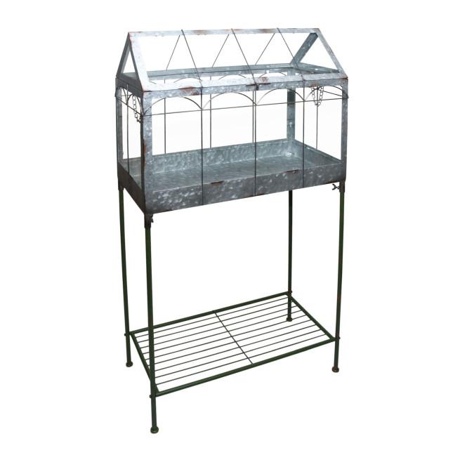 Rivanto® Gewächshaus m. Ständer, verschließbarer Deckel, Pflanzenhaus Größe L, 57 x 29 x 114,5 cm, Eisen/Glas mit Tragegriff, stabile Standfüße