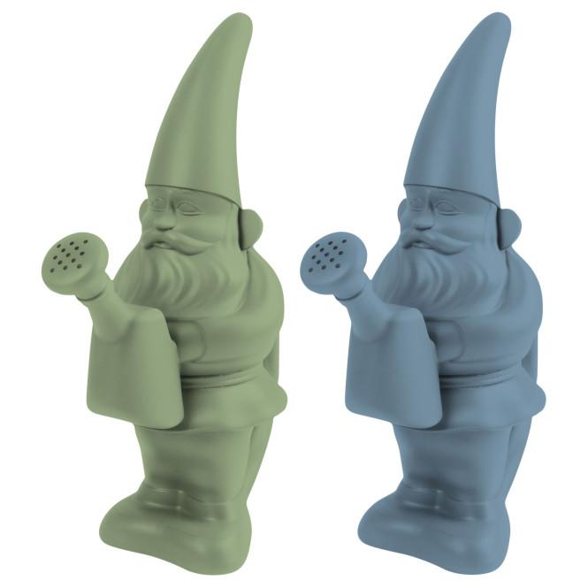 """Rivanto® Gießkanne Gartenzwerg """"George"""" aus Kunststoff, mit Brause-Aufsatz, farbig sortiert, grün und blau, Garten Gießkanne, 12,4 x 24,8 x H34,2 cm"""