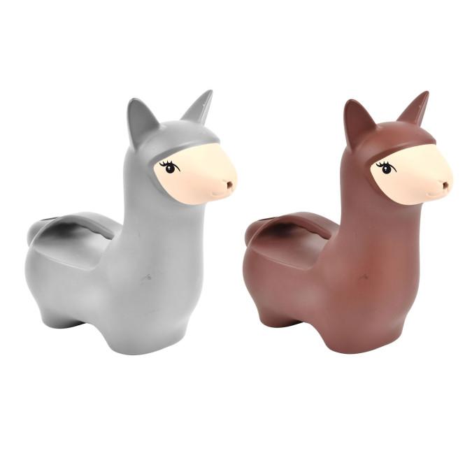 Rivanto® Gießkanne Lama aus Kunststoff, farbig sortiert, 27,5 x 12,8 x 23,4 cm, grau/braun, mit Henkelgriff