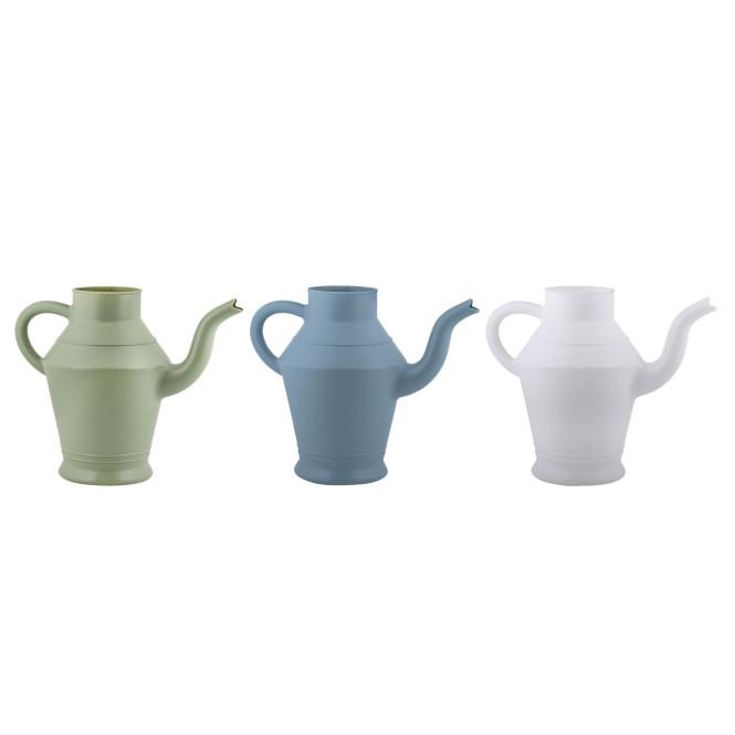 Rivanto® Gießkanne Teekanne im Vintage Design, Größe S, farbig sortiert, grün/blau/weiß, 28,5 x 14,5 x H21,6 cm, Gartengießkanne,