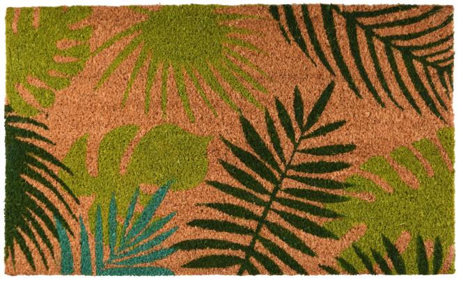 Rivanto® Kokosmatte aus Kokosfaser/Kunststoff, in tropische Blätter Optik, 75 x 45 x 1,7 cm, Türvorleger, Fußabstreifer, braun