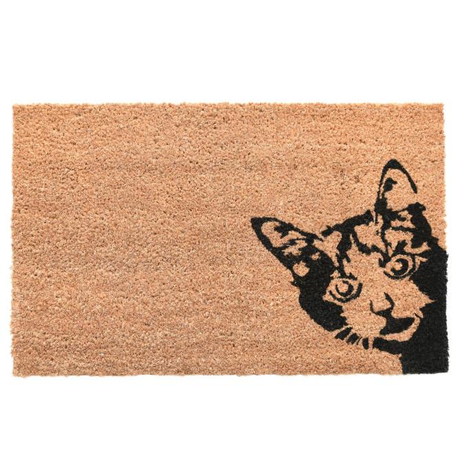 Rivanto® Kokosmatte Kuckuck! Katze aus Kokosfaser/Kunststoff, 60 x 40 x 1,5 cm, Fußabstreifer, Fußabstreifer, Schuhabstreifer, Schuhmatte