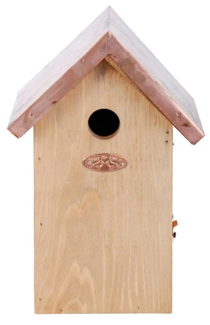 Rivanto® Nistkasten Blaumeise mit Kupfer Dach, 14 x 17 x H26 cm, Vogelhaus Anzahl: 1 Stück