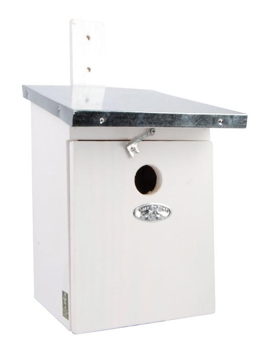 Rivanto® Nistkasten Blaumeise mit Zinkdach 21 x 17 x H33 cm, Vogelhaus weiß mit Türchen Anzahl: 1 Stück