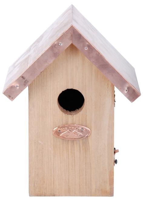 Rivanto® Nistkasten Zaunkönig mit Kupfer Dach, 11 x 14 x H20 cm, Vogelhaus Anzahl: 1 Stück