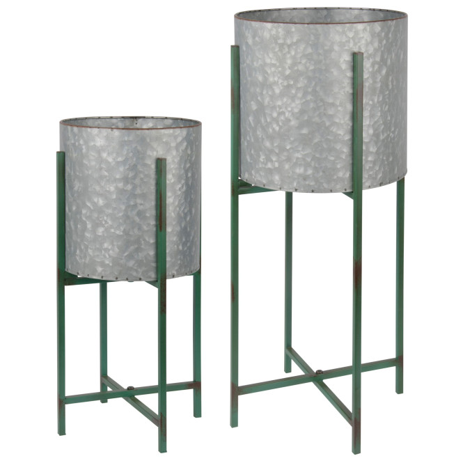 Rivanto® Pflanzenständer aus Metall, rund, 2er Set, Ø 23,5 x 47,5 cm / Ø 27,5 x 62 cm, grün, große Blumentöpfe, Hochbeet, Pflanzentopf