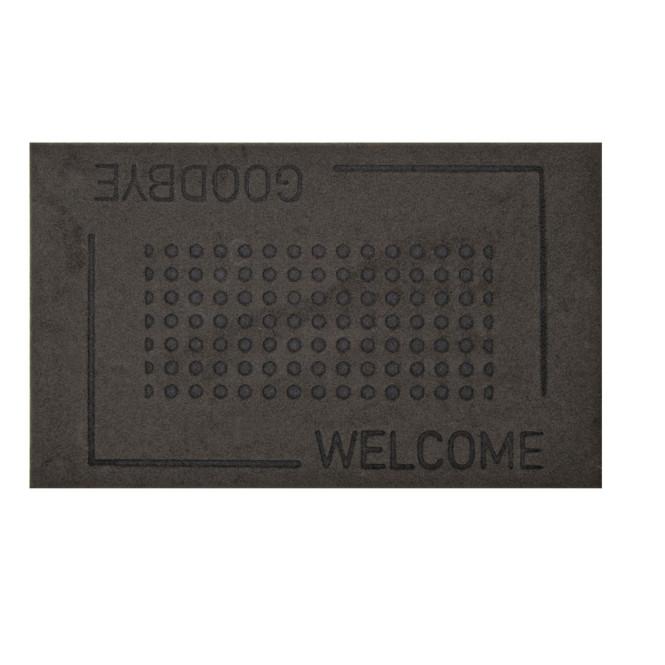 Rivanto® Relief-Türmatte aus Kokosfaser, 75 x 45 x 0,3 cm, welcome/goodbye Schriftzug, klassische Optik, Türvorleger, Fußabstreifer, grau/schwarz