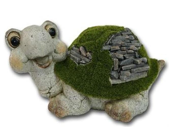 Rivanto® Schildkröte 'Paul', aus Magnesia, geflockt, 36 x 26 x 18,5 cm, Gartendekoration, in grün