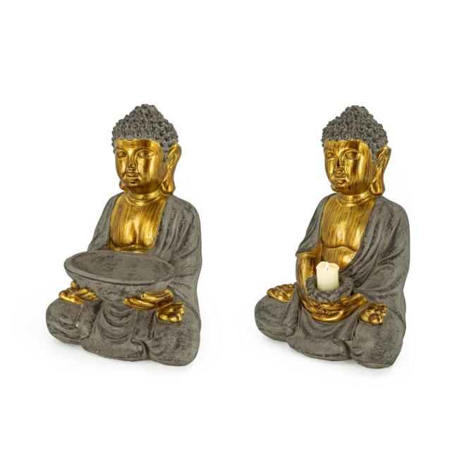 Rivanto® Sitzende Buddha Statue, Höhe 45 cm, Steinoptik Deko Figur für Innen & Außenbereich