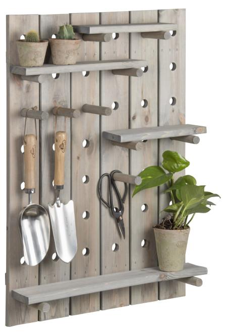 Rivanto® Steckbrett aus Holz, individuell einstellbar, 56,3 x 16,2 x 78 cm, für Gartengeräte / Werkzeuge