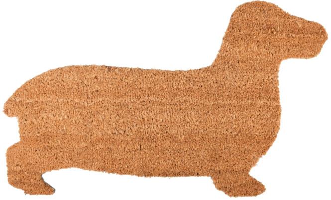 Rivanto® Türmatte Dackel aus Kokosfaser, 75,3 x 45 x 1,7 cm, in Hundeform, Türvorleger, Fußabstreifer, braun