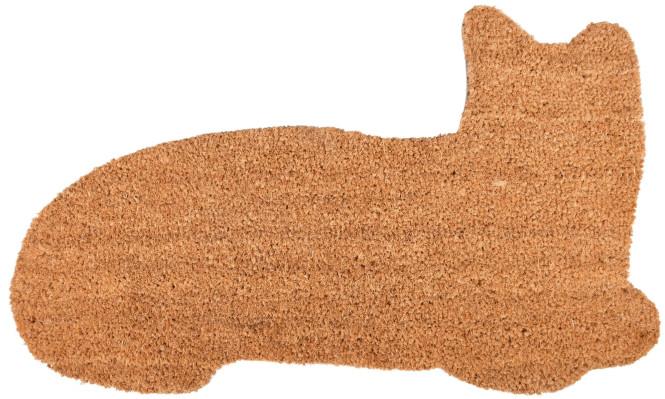 Rivanto® Türmatte Katze aus Kokosfaser, 74,5 x 43 x 1,7 cm, in Katzenform, Türvorleger, Fußabstreifer, braun