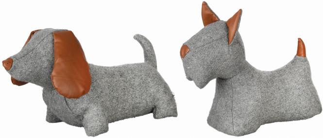 Rivanto® Türstopper Hund, sortierter Ausführung, ca. 1,6 kg, 31,4 x 10,8 x 26,9 cm, lustiger Türkeil, grau mit braunen Kunstlederohren Anzahl: 1 Stück