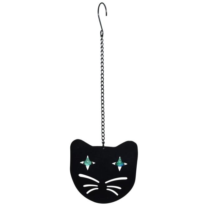 Rivanto® Vogelscheuche Katzen-Gesicht aus Weichstahl/Glas, 12 x 1,7 x 12 cm, Glasperlen als Augen, schwarz