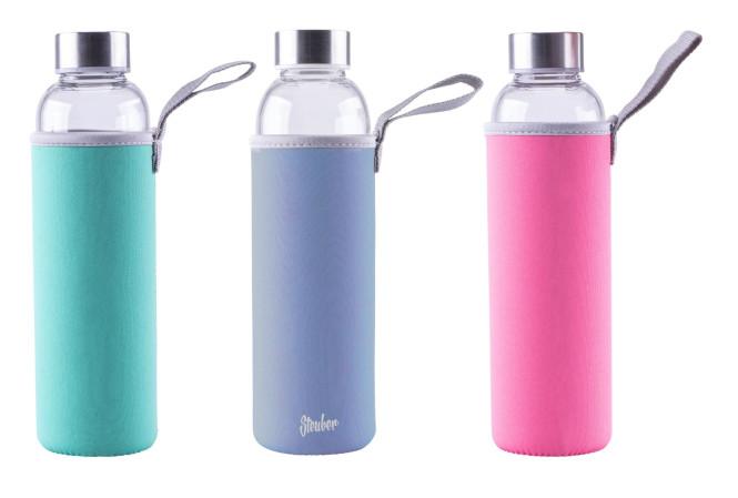 Steuber Glas-Trinkflasche mit Tasche, 550 ml, Farbe wählbar