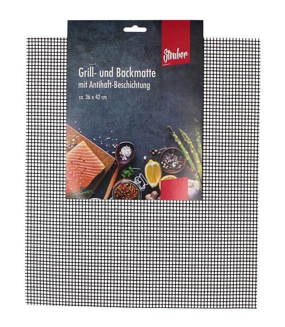 Steuber Grillmatte, antihaftbeschichtet, zuschneidbar, rund  Ø 52 cm oder eckig 42 x 36 cm, als Backpapier Ersatz verwendbar