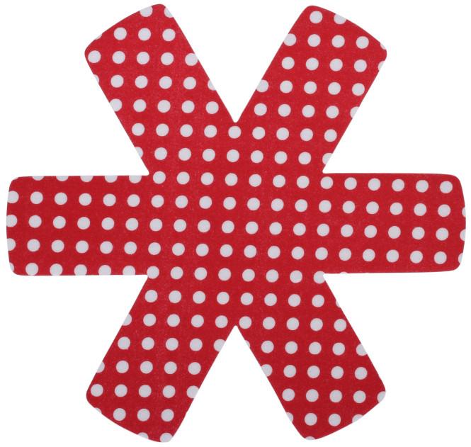 Steuber 3er Set Pfannenschutz 38 x 38 cm, Stapelhilfe und Kratzschutz für Pfannen, rot rot-weiß | Anzahl: 1 Set