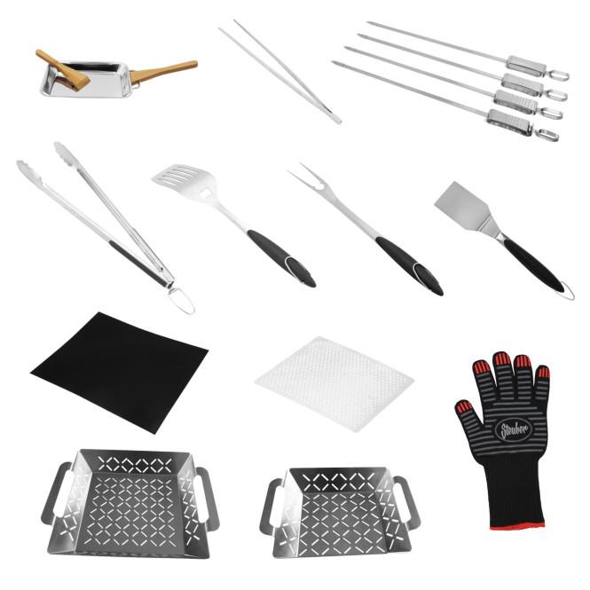 Steuber Premium Line Grill Werkzeug & Zubehör Serie, 12 verschiedene Helfer & Gadgets, Grillkörbe, Grillzangen, Grillwender, Grillspieße & Gabeln