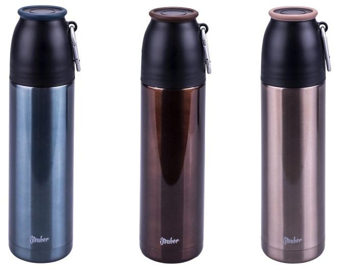 Steuber Thermo Trinkflasche mit Thermobecher, 500 ml, Edelstahl, Farbe wählbar