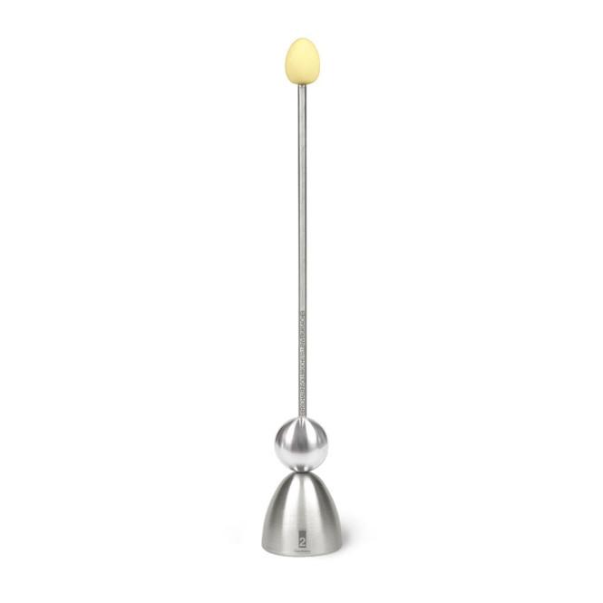 Take2 Clack Eierschalensollbruchstellenverursacher aus Edelstahl, Eierköpfer mit Keramik-Ei, Retro Edition, gelb, Ø 4,5 cm, 29 cm Höhe
