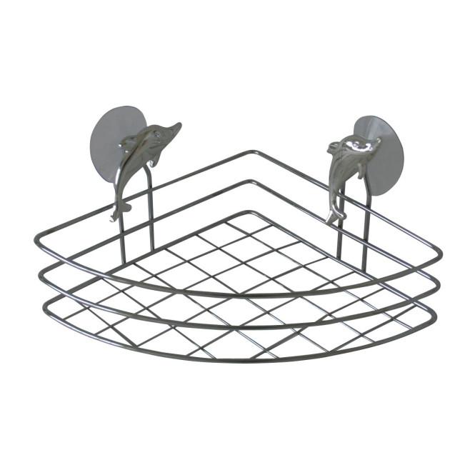 TOP STAR - Eckregal Delfin verchromt 20 x 20 cm