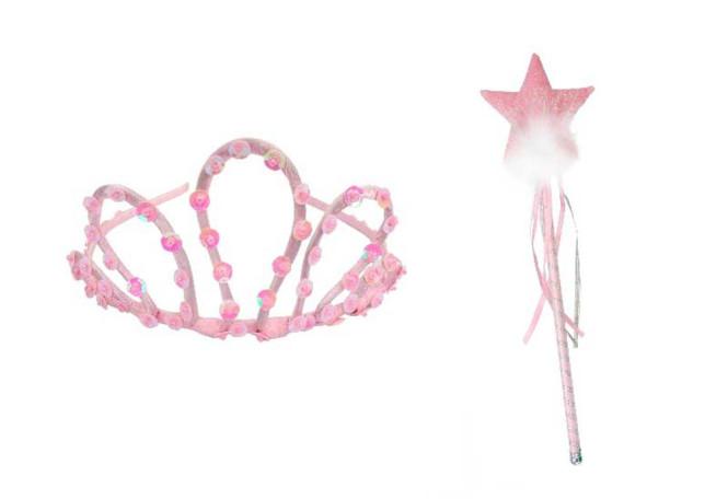Trullala Pailletten-Tiara + Zauberstab, rosa