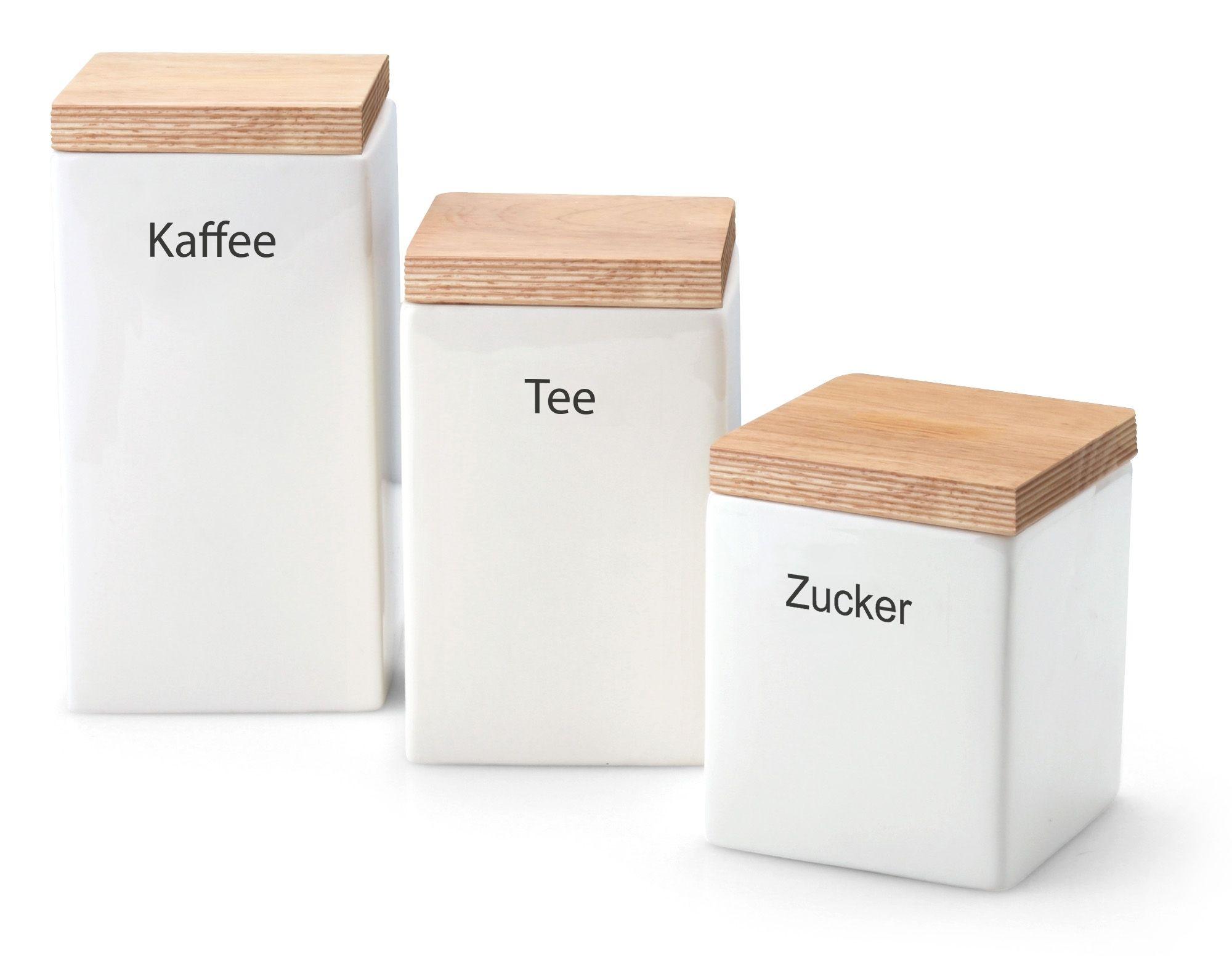 Continenta Vorratsdose aus Keramik, quadratisch, mit Holzdeckel, luftdichter Vorratsbehälter, erhältlich mit verschiedenen Fassungsvermögen