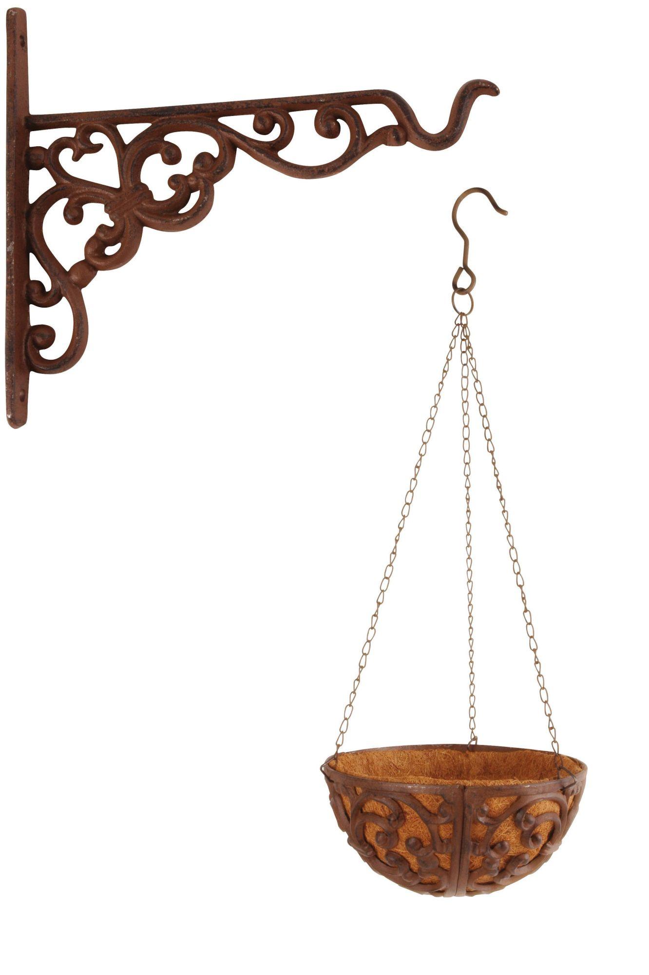 Esschert Design Set: Blumenampel, Hängekorb für Pflanzen mit Bambuseinlage,  Ø 25 cm, inklusive Haken