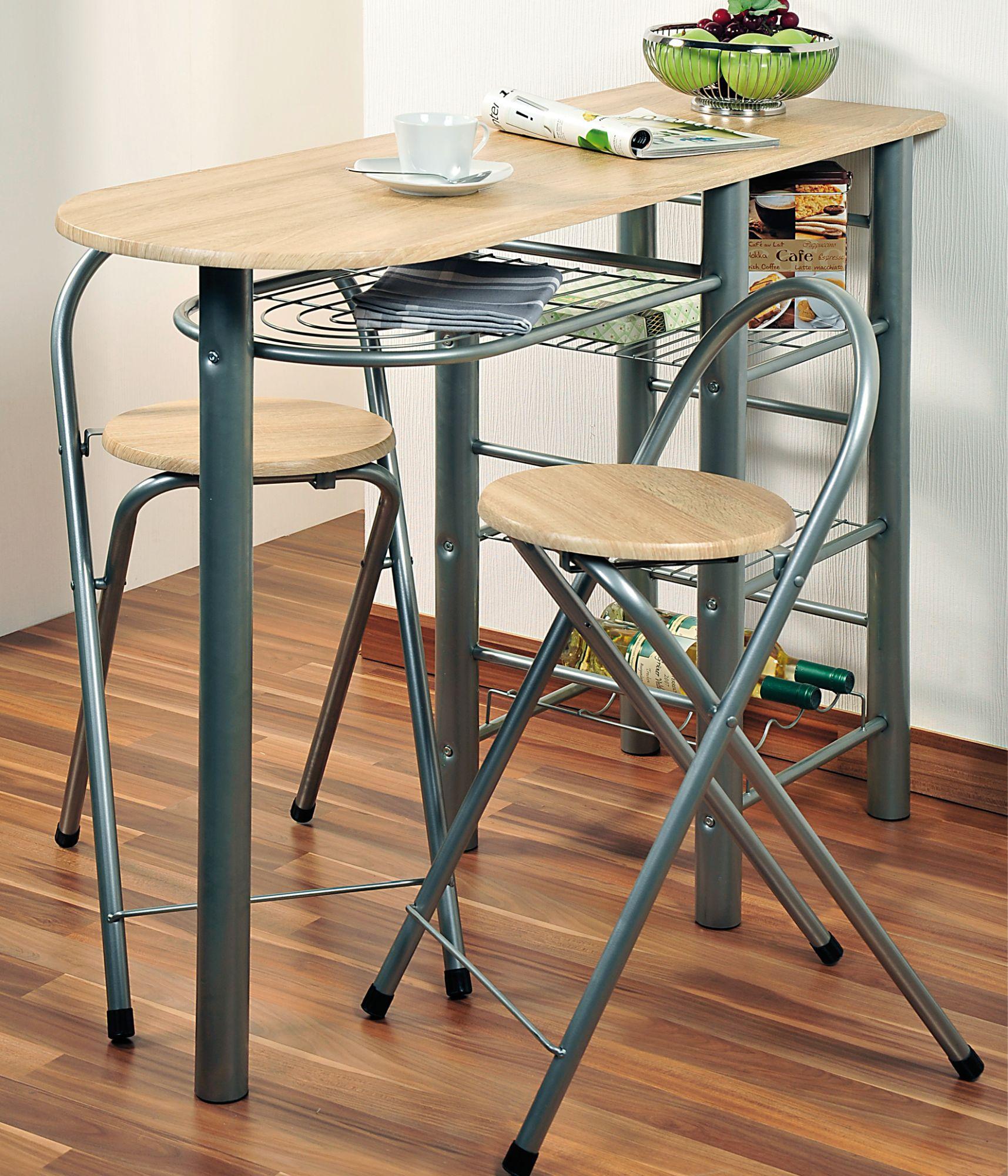 Kesper Küchenbar mit 2 Stühlen, 116 x 88 x 40 cm, aus Metall,  FSC-zertifizierte Faserplatten mit Eichendekor, Sitzhöhe 60 cm, Stuhlfläche  Ø30 cm