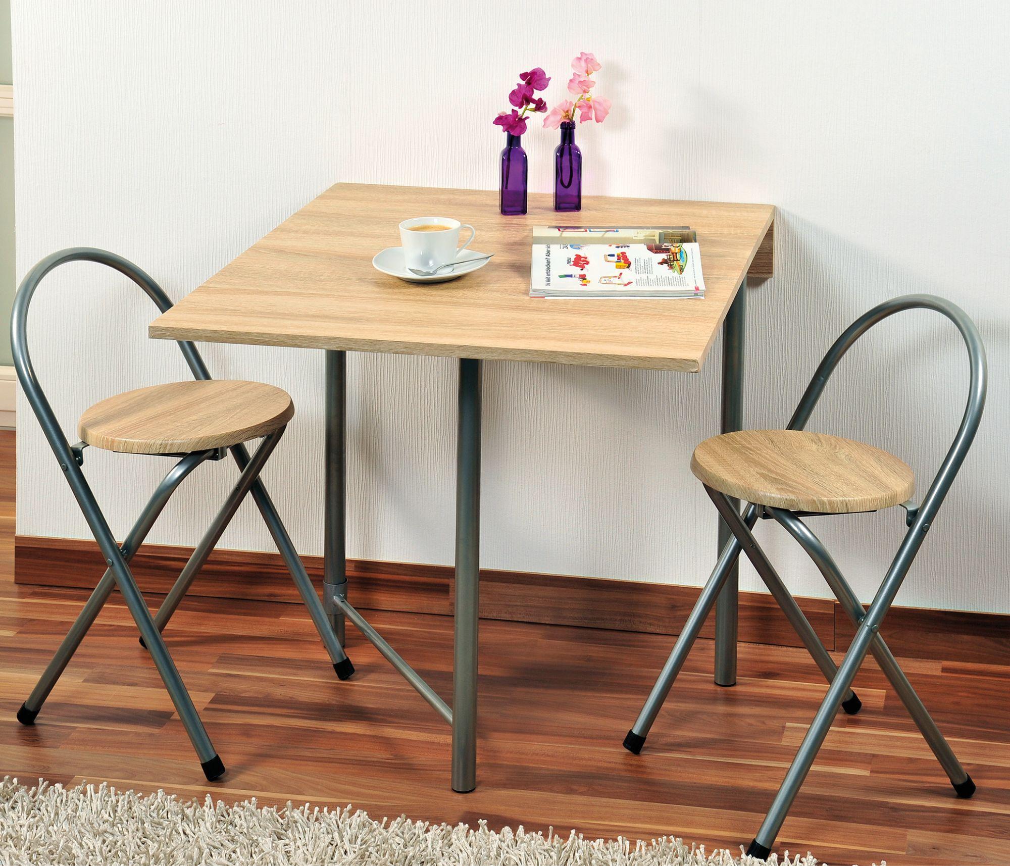 Kesper Küchentisch mit 16 Stühlen aus Metall und Eichendekor, 16er-Set, 16 x  16 x 16 cm