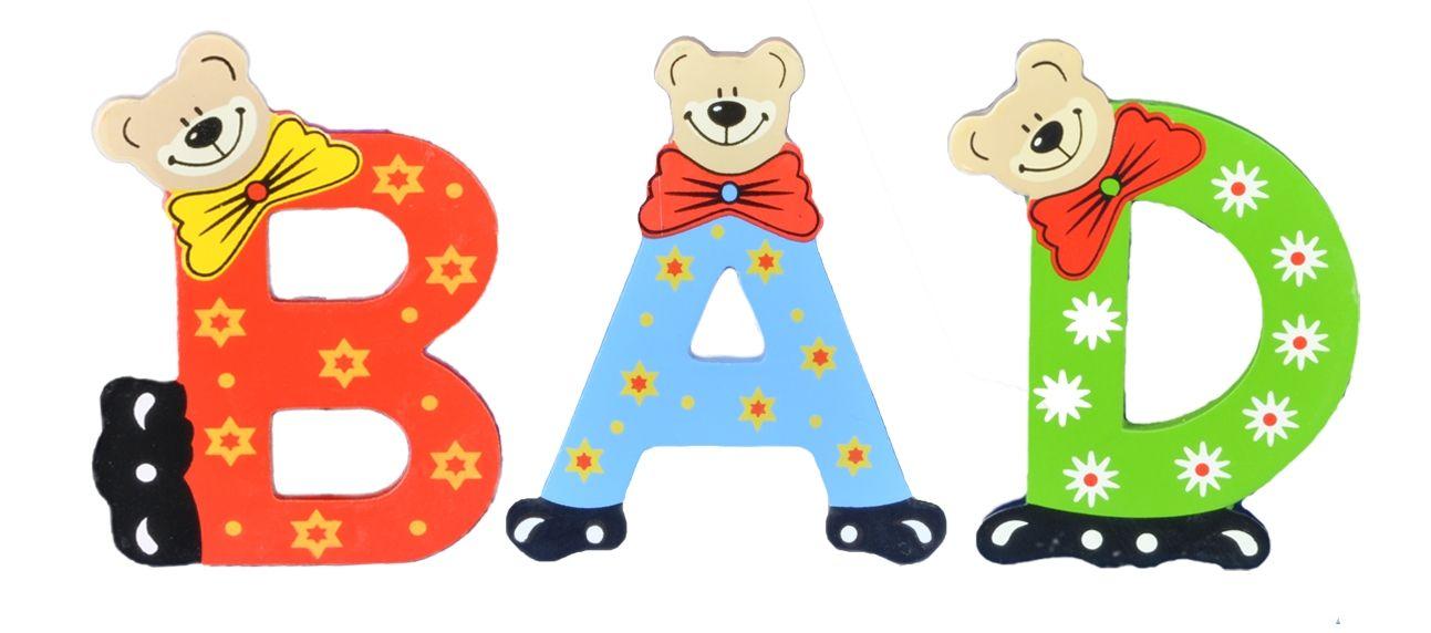 Playshoes Kinder Holz-Buchstaben Namen-Set BAD - sortiert