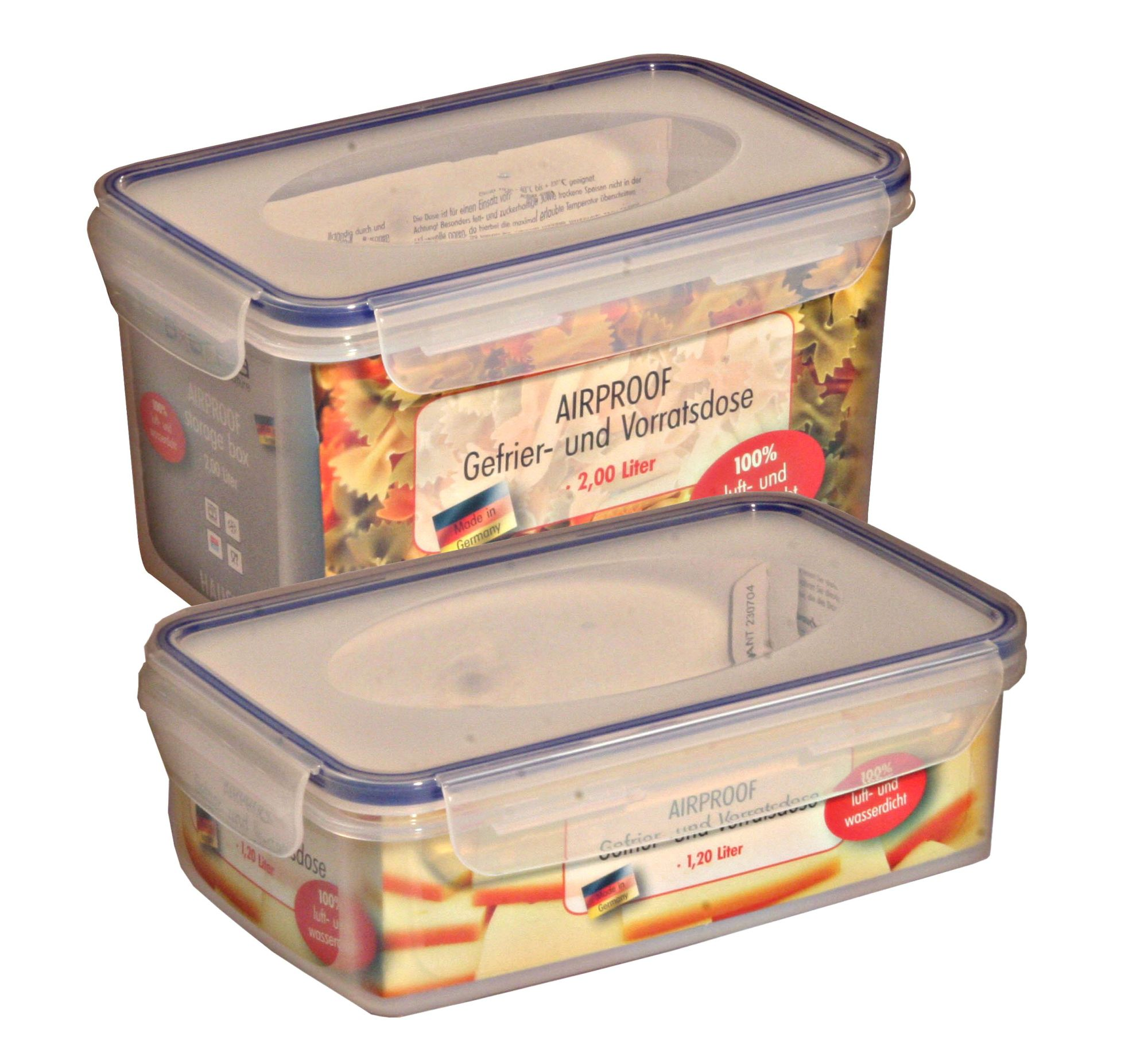 AXENTIA 9er Set Vorratsdosen Airproof, 9 verschiedene Frischhalteboxen Made in Germany, wasserdicht, transparent, Set von Danto®